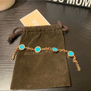 Authentic MK Gold & Turquoise Bracelet
